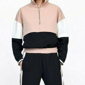 Zara pink and black ColorBlock 1/2 Zip Hoodie NWOT